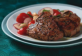 Grilled Lamb T-bone Chops with Tomato and Mozzarella Salad