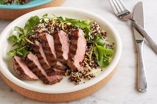Grilled Aussie sirloin, quinoa and pistachio salad