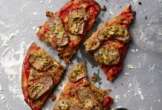 Italian herb-crusted lamb loin pizza