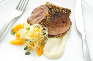 Kasbah lamb with cauliflower puree and shaved orange and fennel salad