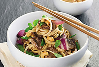 Aussie Lamb with Singapore Noodles, Snow Peas and Cashews