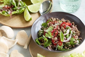 Minced Aussie beef larb with roasted rice