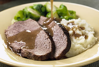 Brandy-Roasted Australian Beef with Garlic Mash