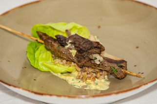 Coffee marinated Aussie beef flank satay
